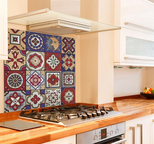 Mexican Tiles Kitchen Glass Splashback