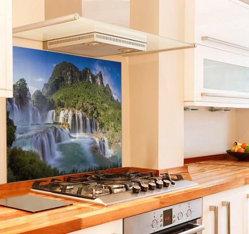 Waterfall Kitchen Glass Splashback