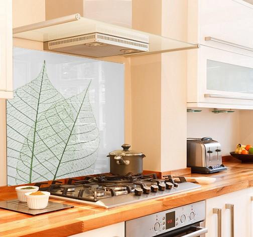 skeleton leaf diy kitchen glass splashback