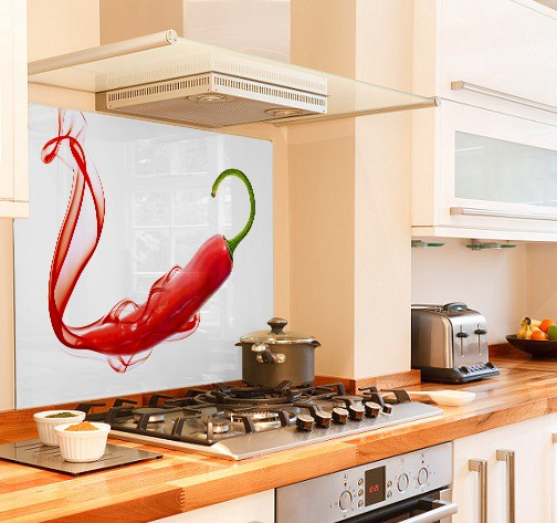 smoke chilli diy kitchen glass splashback