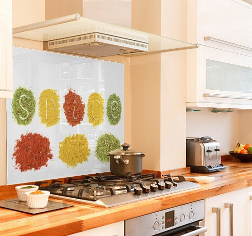 Spice design diy kitchen glass splashback