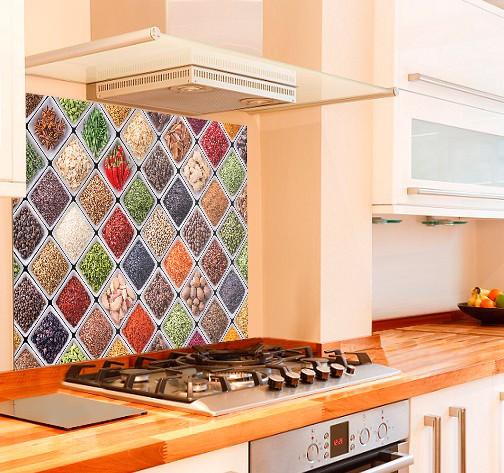 Spice Selection Kitchen Glass Splashback