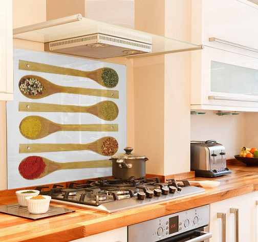 Spice on spoons diy kitchen glass splashback