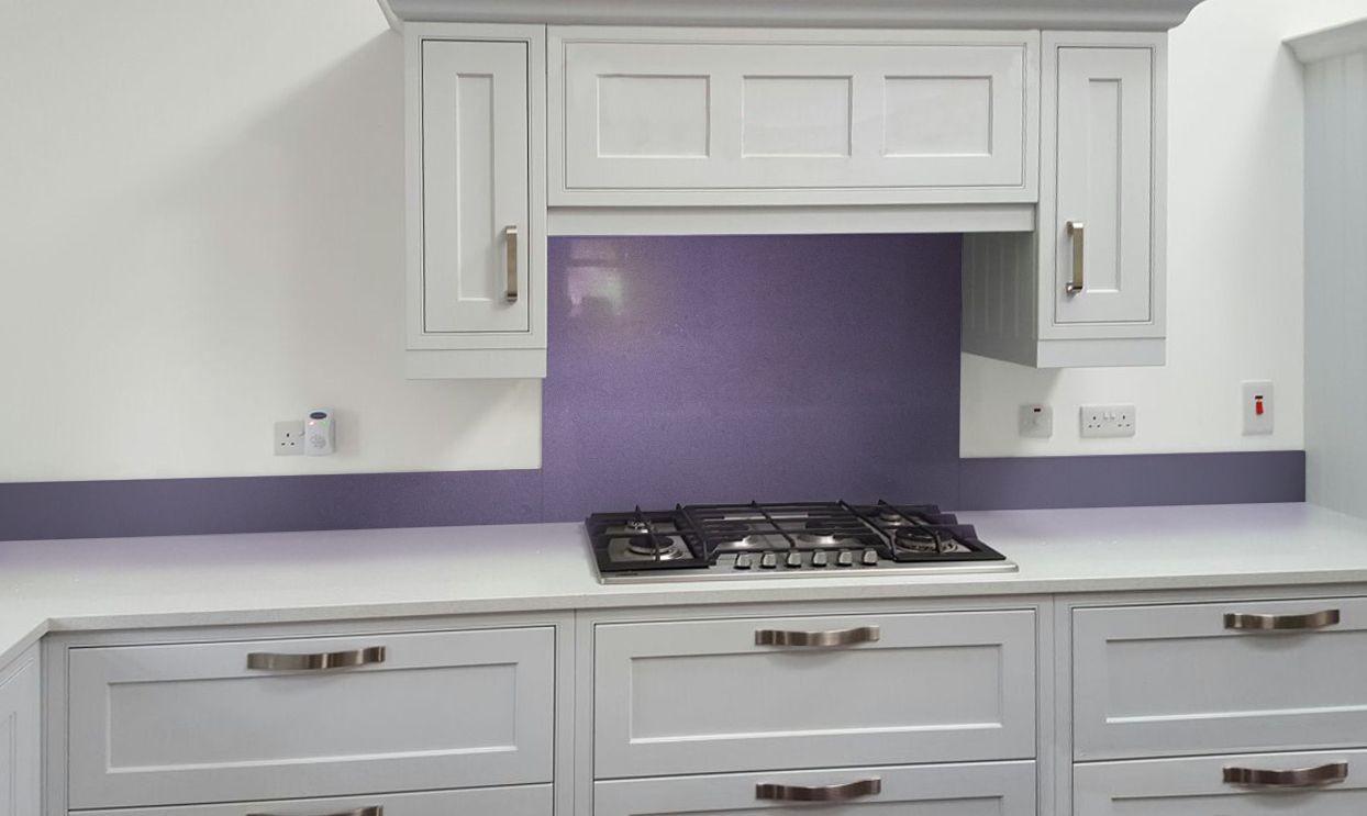 Metallic Steel Violet diy glass kitchen splashback