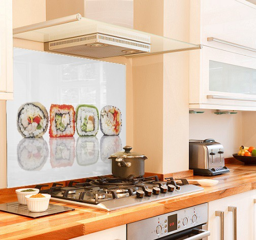 sushi-design diy kitchen glass splashback