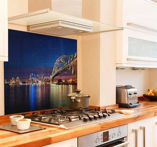 Sydney-Harbour diy kitchen glass splashback