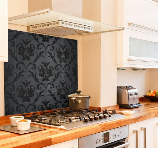 Damask Black diy kitchen glass splashback