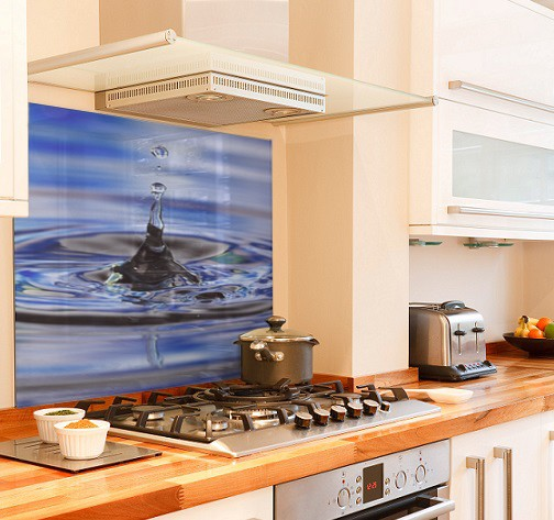 water-splash diy kitchen glass splashback
