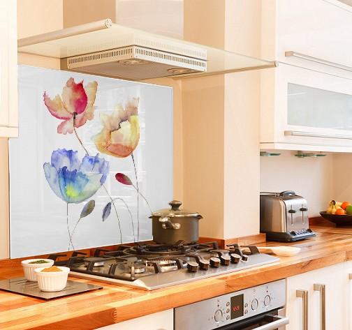 Watercolour Summer flowers diy kitchen glass splashback