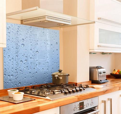 Blue water drops diy kitchen glass splashback