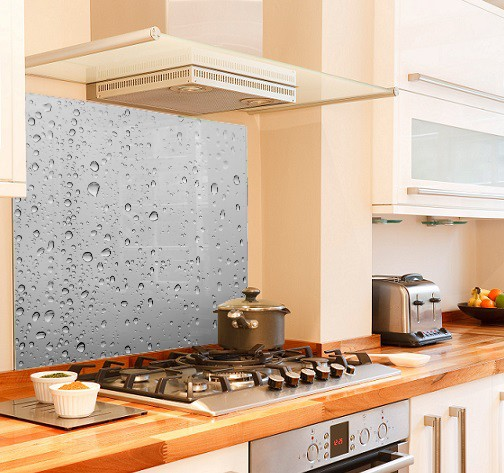 Grey water drops diy kitchen glass splashback