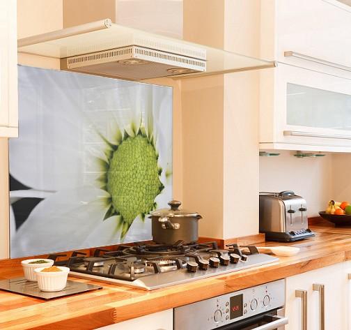 White-flower diy kitchen glass splashback