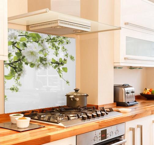 white-petals diy kitchen glass splashback