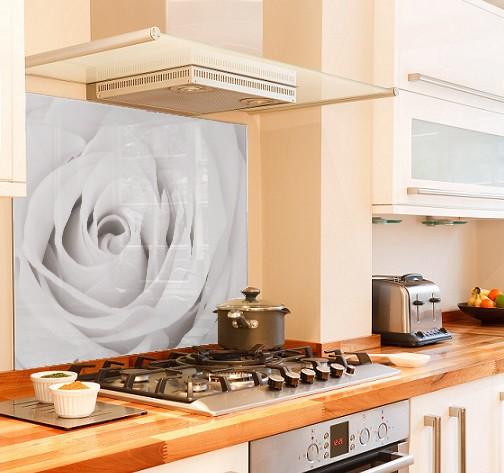Glass buy printed glass splashbacks white rose for Paraschizzi cucina plexiglass