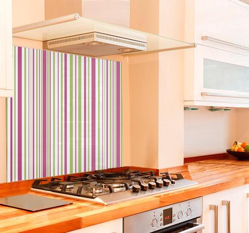 Zesty Stripe Kitchen Glass Splashback