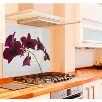 Elegant Orchid Kitchen Glass Splashback