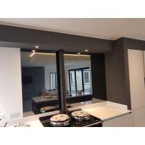 Grey Tinted Mirror Glass Splashback 900mm x 735mm
