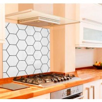 Hexagon Pattern Kitchen Glass Splashback