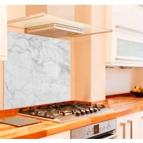 Light Marble Kitchen Glass Splashback