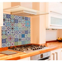 Moroccan Tiles Kitchen Glass Splashback