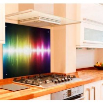 Neon Waves Kitchen Glass Splashback