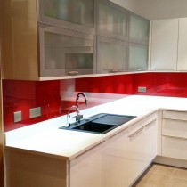 Poppy Red Painted Glass Splashback 1390mm x 590mm