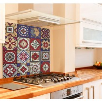 Mexican Tiles Kitchen Glass Splashback