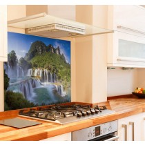 Waterfall Kitchen Glass Splashback