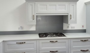 Metallic Grey Aluminium diy glass kitchen splashback