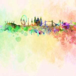 London Watercolour sq diy kitchen glass splashback