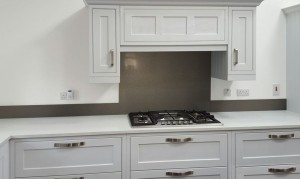 Metallic Pearl Beige diy glass kitchen splashback