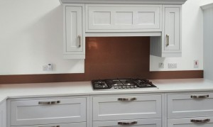 Metallic Pearl Copper diy glass kitchen splashback