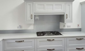 Metallic Pearl Light Grey diy glass kitchen splashback