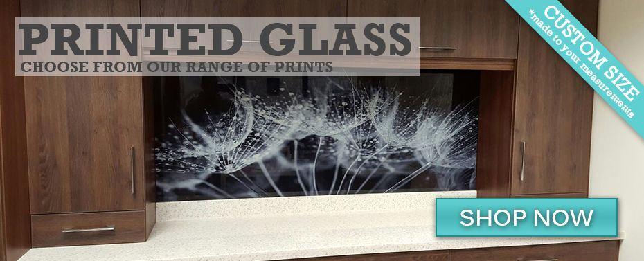 Printed Glass DIY Splashback installed using screws